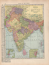 1909 Map ~ India ~ British Provinces Fedatory States Cities-Towns Bombay Madras