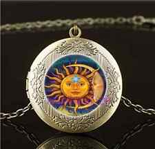 Vintage Sun Moon and Star Photo Glass Brass Chain Locket Pendant Necklace