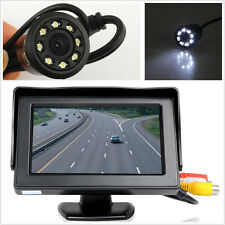 Car Rearview Backup 170°Wide Angle 8LED Night Vision Camera &LCD Display Monitor