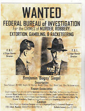 "+""Wanted---Benjamin ""Bugsy"" Siegel"" *Info on Postcard  ~Post Card~"