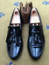 Gucci Mens Shoes Black Leather Tassel Loafers UK 9.5 US 10.5 43.5 Script Fringe