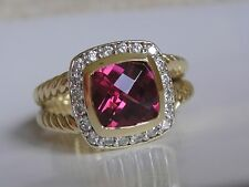 $2950 DAVID YURMAN ALBION 18K GOLD PINK TOURMALINE DIAMOND RING