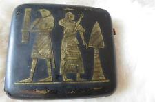 Vintage Japanese Gilt Niello Egyptian Revival Theme Cigarette Case