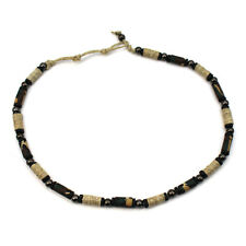 Hemp Wooden Decor Bead Choker Necklace for Men Women Unisex Surfer HP1025BK