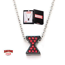 New in Box Marvel Licensed Black Widow Red Gem Stainless Steel Pendant Necklace