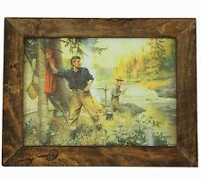 "Rustic FRAMED FLY FISHING Print Philip R Goodwin ""A Friend in Need"" art painting"