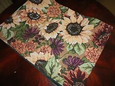 SUNFLOWER YELLOW GREEN RED FLORAL WOVEN TABLE RUNNER 12 X 66