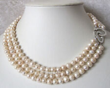 3 Row 7-8mm White Freshwater Cultured Pearl Necklace 16-18""