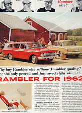 1962 RAMBLER CAR FULL PAGE MAGAZINE AD-IN PLASTIC SLEEVE-VINTAGE