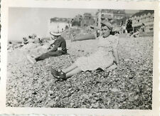 PHOTO ANCIENNE - VINTAGE SNAPSHOT - AULT SOMME FEMME PLAGE MER MODE 1949 - BEACH