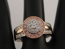 14k Engagement Ring .72 Ctw Natural Fancy Pink & White Diamond Double Halo Rare