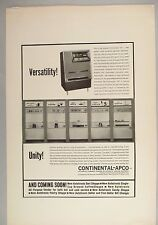 Continental-Apco Coin-Operated Coffee & Cigarette Vending Machine PRINT AD 1962
