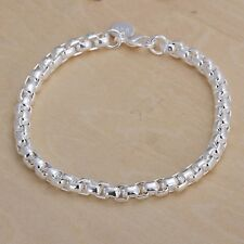 New Women 925 Sterling Silver Plated Cuff Charm Chain Bangle Bracelets Jewelry