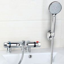 CHROME BATHROOM THERMOSTATIC BATH FILLER SHOWER MIXER VALVE SPRAYER TAPS