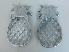 """METAL PINEAPPLE TRAY PAIR SET OF 2 ALUMINIUM 8"""" LONG SERVING CHARGER LUAU PARTY"""