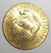 1923 Westfalen 10000 mark, Horse, Stallion, Colt, animal wildlife coin