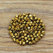 Swarovski 5301# 4 mm Bicone Crystal beads C 100 Pieces Plated Golden