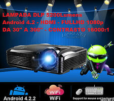 VIDEO PROIETTORE ANDROID 4.2 5200 LUMENS DLP VIDEOPROIETTORE CINEMA 3D