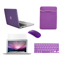 "5 in1 Rubberized PURPLE Case for Macbook PRO 15""Retina+Key Cover +LCD +Bag+Mouse"