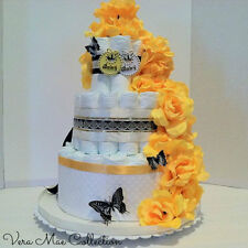 Baby Shower Gift Beautiful Yellow and Black Trim Diaper Cake For A Boy Or Girl