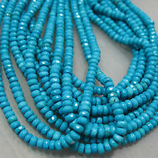 "Blue Turquoise 2.5x4mm Sparkling Faceted Rondelle Beads 15.5"" NEW!"