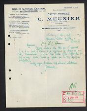 """BARBEZIEUX (16) AGENCE CONCESSIONNAIRE AUTOMOBILE RENAULT """"C. MEUNIER"""" en 1929"""