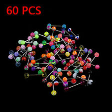 60pcs Mixed Color Ball Nipple Tongue Bars Ring Barbell Stud Body Piercing