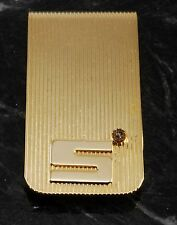 Vintage Collectible Gold Plated Brass Money Clip Letter S Ribbed NOS w DAMAGE