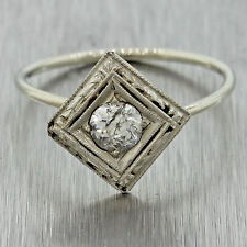 1930s Antique Art Deco 14k White Gold Old Mine Cut Round Diamond Conversion Ring