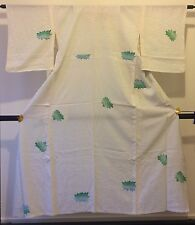 Authentic handmade Japanese women's white silk kimono, good condition (F302)
