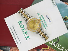 ORIGINAL Champagne Diamond Dial Ladies Rolex Datejust - BOX & PAPERS.