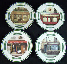 "Set of 4 Williams Sonoma Les Bistro 7 3/4"" Salad Plates Paris Cafe Andre Renoux"