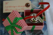 Silver i believe polar express style metal jingle santa christmas boxed bell Uk