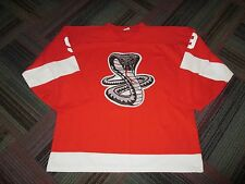 "MENS HOCKEY ATHLETIC KNIT PRO JERSEY RED / WHITE ""COBRA"" LOGO #9 ""ROY"" SZ: 2XL"