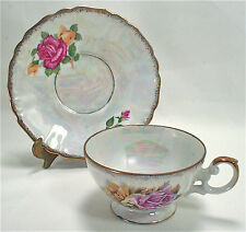 VTG FOLEY TEA CUP+SAUCER VICTORIAN FOOTED LUSTERWARE/IRRIDIZED PATTERN 1201