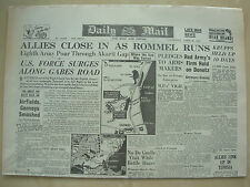 DAILY MAIL WWII NEWSPAPER APRIL 8th 1943 8th ARMY ALLIES CLOSE IN AS ROMMEL RUNS