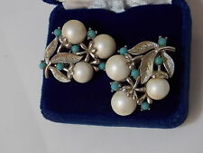 Vintage Sarah Cov White Pearl Turquoise Blue Bead Flower Clip Earrings 5a 17