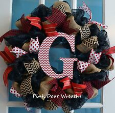 Made to Order Wreath Door MONOGRAM initial welcome mesh ribbons black burlap red