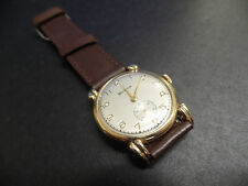 Vintage gents gold plated fancy lugs HELVETIA  watch with Sub dial Swiss made.