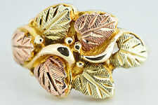 Black Hills Gold 10k Solid Yellow, Green & Rose Gold Ring