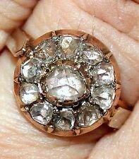 RARE ANTIQUE FRENCH VICTORIAN 18k GOLD .80ct  ROSE DIAMONDS 13mm ROUND RING 1850