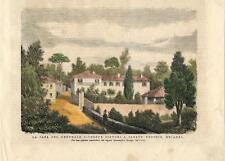 Stampa antica CASATENOVO Casa gen. Sirtori Brianza Lecco 1874 Old antique print