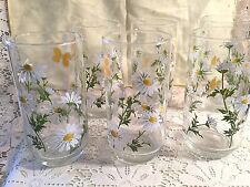 Six Libbey Daisy and Butterfly Drinking Glasses