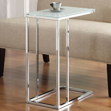 Modern Frosted Tempered Glass Top Chrome Metal Accent End Chair Side Snack Table