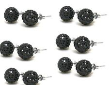 925 Silver and Crystal Shamballa Swarovski ElementsStud Earrings_Black