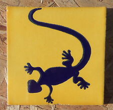 "10~Talavera Mexican 4"" tile kiln fired hand painted GECKO LIZARD Salamander Blue"