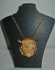 "VINTAGE ""RAZZA"" BULL'S HEAD STEER RESIN GOLD TONE PENDANT NECKLACE"