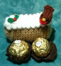 KNITTING PATTERN - Christmas Yule Log chocolate cover fits Ferrero Rocher