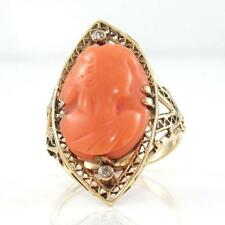 VTG Antique 10K Gold Diamond Carved Salmon Coral Cameo Filigree Ring Sz 5.5 QR1