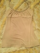 BEBE BRAIDED BEIGE TAN TANK TOP SIZE XS SHIRT TEE ADJUSTABLE STRAPS EXTRA SMALL